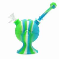 Tubos de agua de silicona Globo Design Bongs Camuflaje Color Puro Plataformas de aceite de silicona Mini Bubbler Bong Hookahs