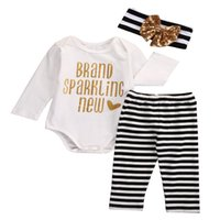 Bébé vêtements pour enfants Sets bronzants Bébés filles Hauts + Stripe Bodysuit Caleçon long = Tenues Bandeau Vêtements Set de