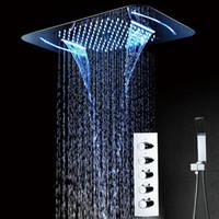 Termostato Cascada Lluvia Misty Conjunto de grifo de ducha Función Muti Mezclador de baño Panel Cromado Cabezal de ducha 380 * 580mm control remoto de luz led
