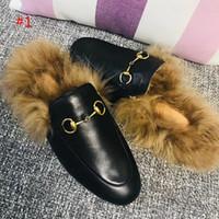 2019 Kadın Kürk Terlik Katır Flats Süet katır ayakkabı Tasarımcı Moda Hakiki Deri Loafer'lar Ayakkabı Metal Zincir Bayanlar Rahat