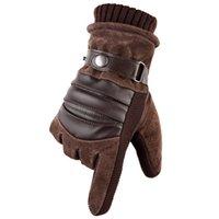 Классический дизайн мужские Мотоциклетные Driving Холодные Proof Теплые перчатки сенсорный экран черный и коричневый цвета Pigskin перчатки