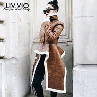 [LIVIVIO] Cappotti in pile irregolari in pelle PU Dolcevita Cerniera Midi Cappotto lungo Inverno Spessa Donna Abbigliamento taglie forti