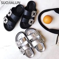 Flip Flops Brand New Brand New Rhinestone Women Sandali Donna Estate Crystal Diamond Bling Beach Slides Sandali Slip On