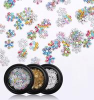 Los copos de nieve de oro hueco del arte del clavo de las lentejuelas de plata del copo de nieve Mezclado Nail Art decorativos Accesorios de uñas
