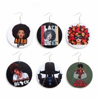Fashion Round Wood Earrings Printing Colorful African Head L...