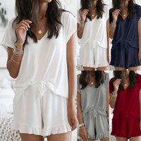 الصيف 2020 المرأة بيجامة تعيين الصلبة اللون فضفاض قصيرة الأكمام الخامس الرقبة بلايز والكشكشة السراويل عارضة ملابس خاصة الملابس الرئيسية MD0155