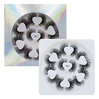 Série Z plateau de coeur faux cils 7 paires handmake doux Faux Mink cils d'extension des cils de soie 3D