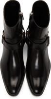 Sıcak Satış-Man Slp Siyah Hakiki Deri Wyatt Harness Çizme Dana derisi Batı Bilek Kayışı Yığılmış Deri Küba Topuk Boots Ayakkabı