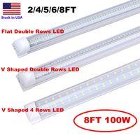 V Shape 4 filas luces de tubo 2 pies 4 pies 5 pies 6 pies de 8 pies LED T8 TUBO TUBO TUBO LED integrado 8FT Puerta fresca AC85-277V