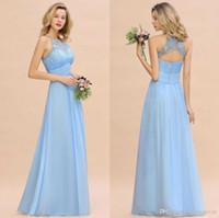 2020 Modest Sky Blue Halter A Linha Dridesmaids Vestidos com Sash Lace Appliqued Beach Wedding Convidado Vestidos com Volta Aberta