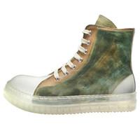 Sin Ro Logo Botas Hombre Verde Amarillo top zapatos para hombre del cuero auténtico Bot 18 # 25 / 20d50