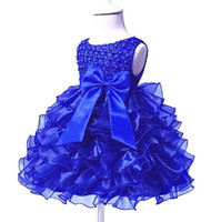 Layers Organza Little Baby Dresses Jewel Neck Pearls Short S...