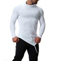 Рукав футболки весна мода нерегулярность высокая шея одежда тонкий сплошной одежда Мужская нерегулярность долго