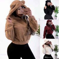Preppy Lovely with Bears Ears Solid Crop Teddy Hoodie Faux F...