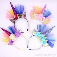 Baby Unicorn Headband кружева головной убор на головных уборе Tiaras для вечеринки Хэллоуин прекрасный кот уши для девочек цветок волосы палочки для волос девушки