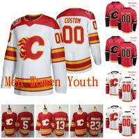 Dikişli 2020 Calgary Flames Johnny Gaudreau Jersey Matthew Tkachuk Elias Lindholm Noah Hanifin Mark Giordano Buz Hokey Formaları Özel