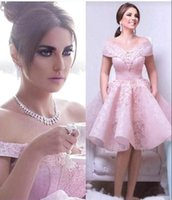 Hot Sale Knee Length Pink Lace Homecoming Dresses with Appli...