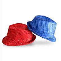 Блестки Шляпы мигающий свет вверх водить Trilby LED Джаз Cowboy Hat Unisex Hip Hop Luminous Hat Party для взрослых световой колпачок 11 Цвета LXL38-1