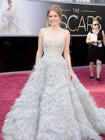 Wysokiej jakości nowe gwiazdy europejskie i amerykańskie z tą samą piłką Prom Dresses Oscar Awards Grey Tulle Suknie wieczorowe
