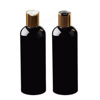30pcs 300ml haut noir de disque d'or vide bouteilles de lotion cosmétiques PET 300cc shampooing bouteille en plastique avec capuchon