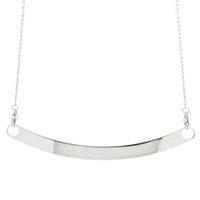 Collar de cadena de barra curvada de plata antigua Acero inoxidable Vintage Collar doblado Ajuste 8mm Encantos de diapositivas / letra LSBR025
