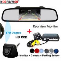 Koorinwoo Dual CPU 170 gran angular sensores de aparcamiento de coches ParkMaster 4 zumbador Espejo retrovisor detector de la cámara de visión trasera del coche del monitor