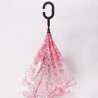 Прозрачный обратный зонт C Ручка двойного слоя вишневые цветы Перевернутый зонт дождь женщины C-крючок ветрозащитный складной зонт ysy52q