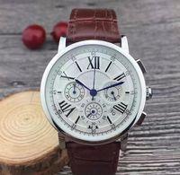 TOP Todos los diales de relojes de lujo cronómetro reloj de los hombres que trabajan con el calendario correa de cuero superior de la marca del reloj del cuarzo para los hombres de alta calidad