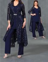 plus récent 3 pièces mère de la mariée pantalons costumes avec 3/4 dentelle manches veste longueur de cheville robes de soirée formelle