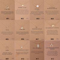 2019 12 Styles Dogeared tour de cou Collier Avec Carte Or Cercle Éléphant Perle Amour Ailes Croix Clé Pendentif Collier Pour Mode femmes Bijoux