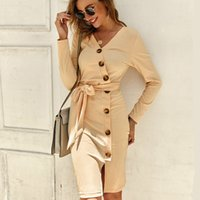 Women Stretwear Buttoned Bodycon Knee- Length Dress With Belt...