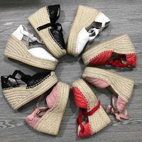 Дизайнер Женщины Клин платформы сандалии эспадрильи обувь натуральной кожи лодыжки Шнуровка matelassé эспадрильи Дамы Высокий каблук 12см с коробкой