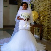 2019 African White Mermaid Wedding Dresses Sweet Heart With ...