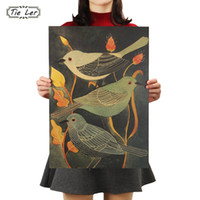 TIE LER Nightingale Beauty Bird Vintage Poster Retro Decorat...