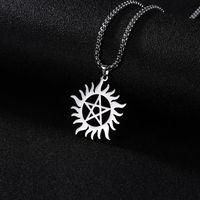 Skyrim Paslanmaz Çelik Parlayan Güneş Pentagram kolye kolye Erkekler için doğaüstü Dekan Bildirimi Kutusu Zincir Kolye Takı