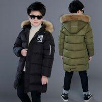 Зимняя утолщение ветрозащитные теплые дети Пальто водонепроницаемая детская верхняя одежда хлопковое наполнитель в тяжелом весе мальчиков куртки на 4-14 лет