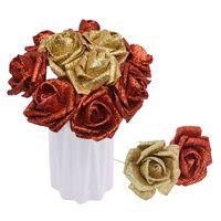 Dekorativa blommor kransar 5 / 10pcs 6cm glitter skum ros konstgjord blomma brudbukett bröllopsfödelsedag dekor guld / silver falsk diy wrea