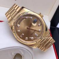 2020 Ladenbesitzer Luxus empfehlen 18Kt 36mm 41mm Gold Präsident Tag Datum Champagner Diamond 118238 Sant Blanc Automatische mechanische Uhr