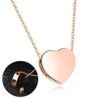 Fashion High Quality rose gold heart necklace stainless steel Pendant Charm necklace lady girls birthday gift jewellry anniversary necklace