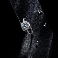 المجوهرات S925 خواتم الفضة الاسترليني خواتم الزركون الكريستال كامل حلقات مربعة الشكل للنساء الأزياء الساخن