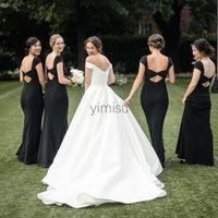 국가 블랙 인어 신부 들러리 드레스 보석 백리스 가든 비치 아랍어 웨딩 게스트 가운의 하녀의 명예 드레스 플러스 크기 저렴한 사용자 정의