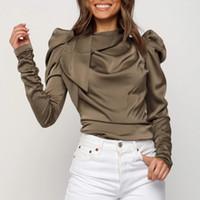 Meihuida 2019 가을 신상품 여성의 긴 소매 의류 솔리드 스택 소매 셔츠 여성 Camisas Blusa Mujer 블라우스