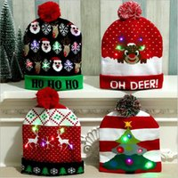 Christmas Hats Children Knitted hats with LED light Winter w...