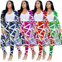 Más del tamaño de las mujeres diseñador de verano traje de suéter conjunto de 2 piezas chándal Cardigan pantalones traje deportivo outwear leggings trajes abrigo manto trajes 873