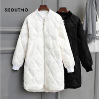 SEDUTMO Invierno largo para mujer Chaquetas de Down Ultra Ligero pato abajo cubren gran tamaño blanca Puffer chaqueta delgada otoño Parkas T191125