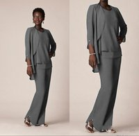 Nigeria Dark Gray Chiffon Mother Of the Bride Suits Custom M...