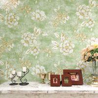 El papel para pared americano del estilo del papel pintado de cosecha de flores 3d rústica para las paredes pintado no tejido para la sala Papel floral verde