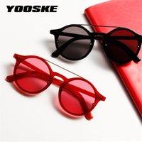 Mulheres óculos de sol redondos clássico Vintage Hip Hop Estilo Sun Mulher dos vidros designer de marca dupla ponte Red Quadro Eyewear