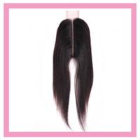 Cierre de encaje de pelo virgen brasileño 2x6 Cabello humano recto 2 * 6 Cierre Parte central 8-20inch Color natural Cierre recto