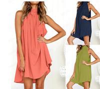 2019 Summer Linen Vest Sundress Draped Elegant Girl Casual 봄 주름 드레스 단색 민소매 라운드 넥 파티 밤